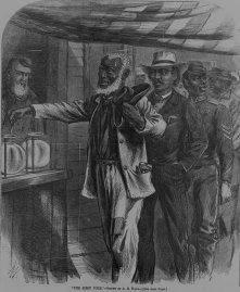 23. Corpi di colore: il primo voto nel Sud liberato, 1867. Alfred R. Waud, The First Vote, in «Harper's Weekly» (November 16, 1867). Library of Congress Prints and Photographs Division, Washington, D.C.